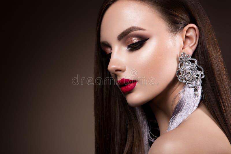 Beautiful woman portrait. Beauty on dark background royalty free stock photos
