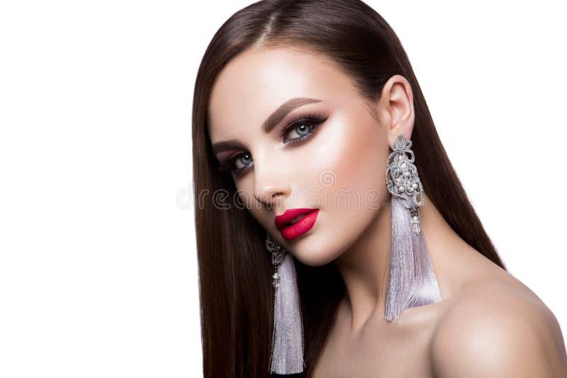 Beautiful woman portrait. Beauty on light background royalty free stock photography