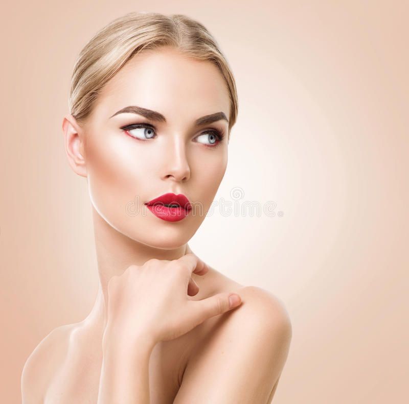 Beautiful woman portrait. Beauty Spa woman with perfect fresh skin. Pure Beauty blonde model girl. Youth and Skin Care Concept royalty free stock image