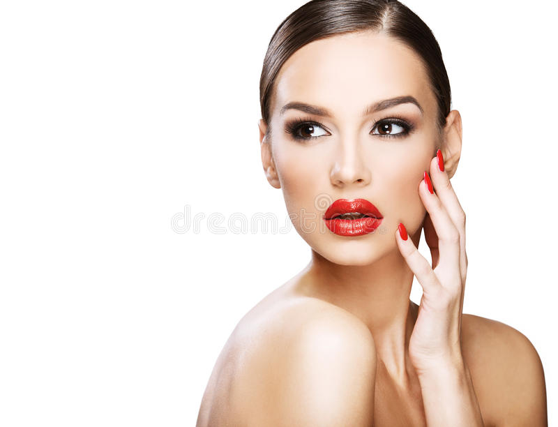 Beautiful woman portrait, beauty on white background. Red lips royalty free stock photos