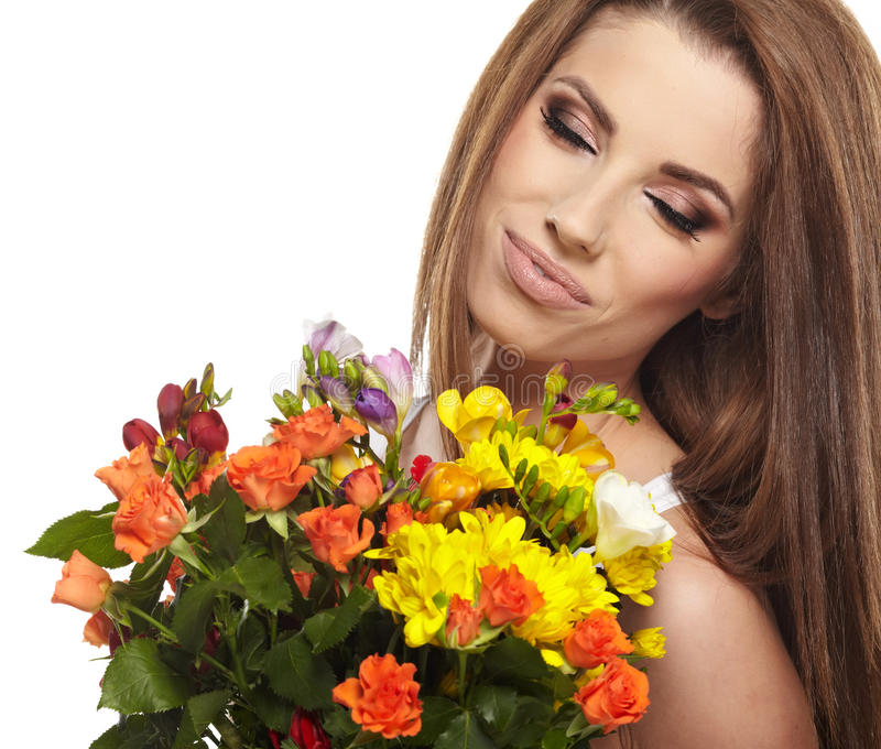 Download Woman Portrait  With Bouquet Stock Image - Image of happy, nature: 29779821