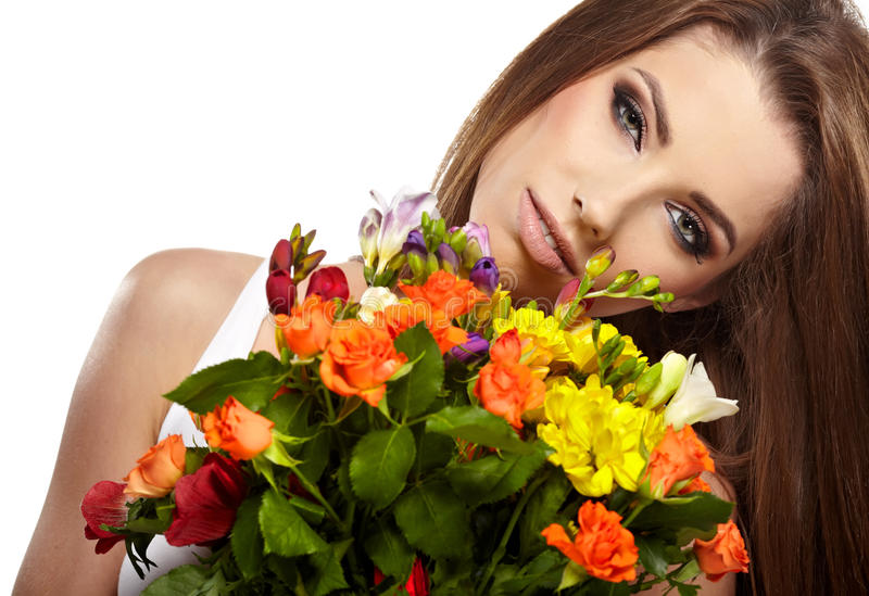 Woman Portrait  With Bouquet Stock Photography