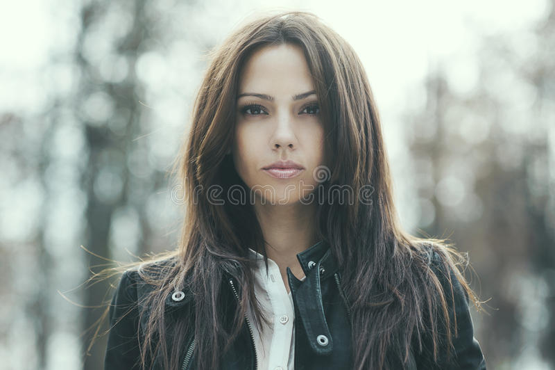 Beautiful woman portrait - close up.  royalty free stock image