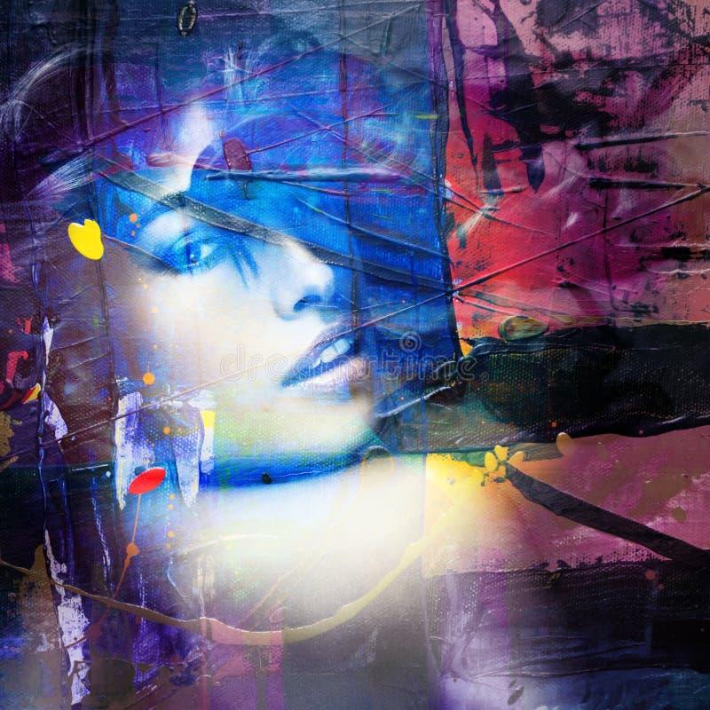 Beautiful woman portrait colorful mix. B mn km stock images