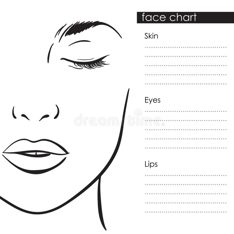 Beautiful woman portrait. Face chart Makeup Artist Blank Template. Vector. Illustration vector illustration