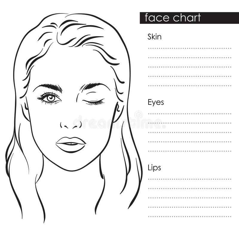 Beautiful Woman Portrait Face Chart Makeup Artist Blank Template
