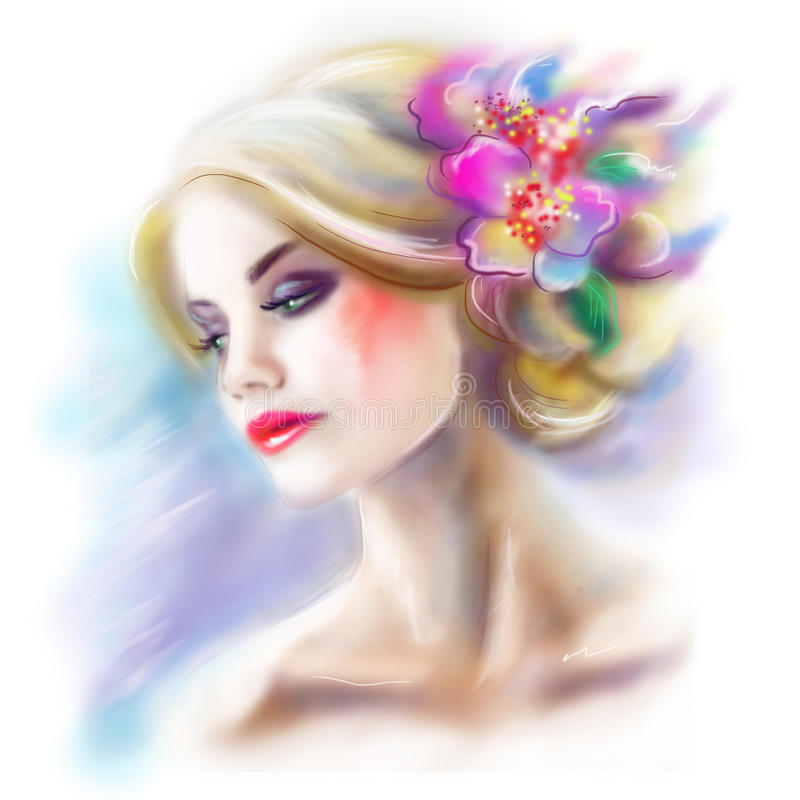 Beautiful woman portrait fashion illustration royalty free illustration
