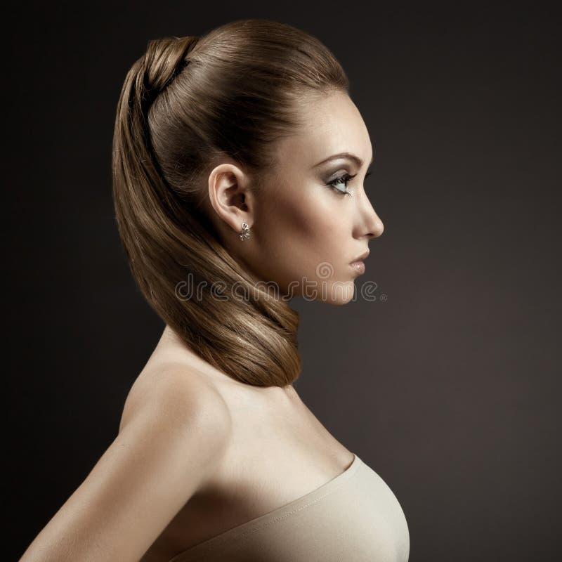 Beautiful Woman Portrait. Long Brown Hair royalty free stock photo
