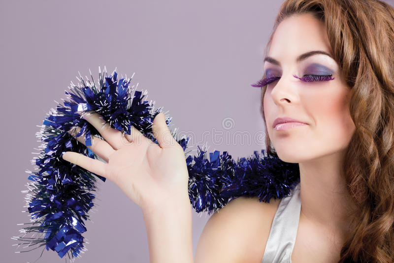 Beautiful woman portrait make up. Beautiful brunette model portrait,colorful make-up,eyes closed royalty free stock photography