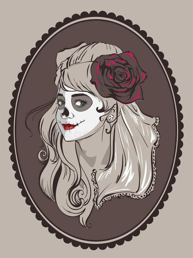 Beautiful woman portrait for Mexican holiday day of dead vector illustration