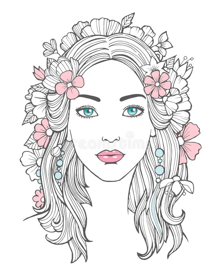 Beautiful woman portrait. Mysterious drawing beauty young female with flowers in hair vector art. Face woman portrait, girl young drawing illustration vector illustration
