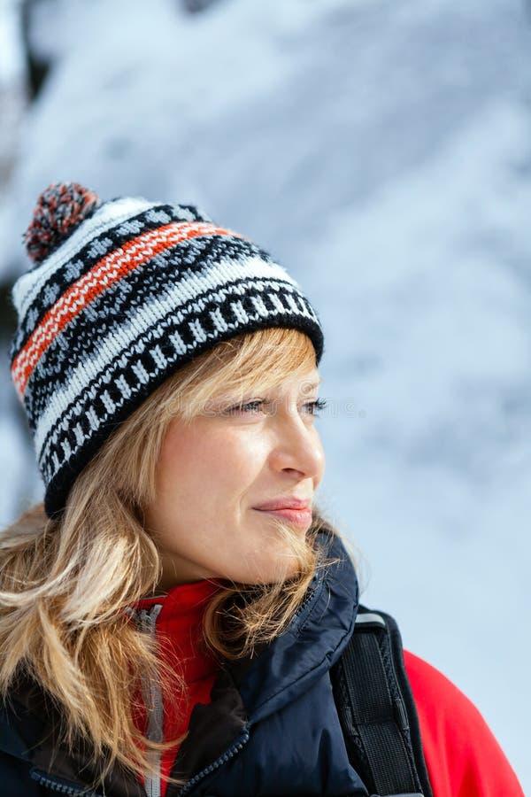 Beautiful woman portrait, winter outdoors stock photography