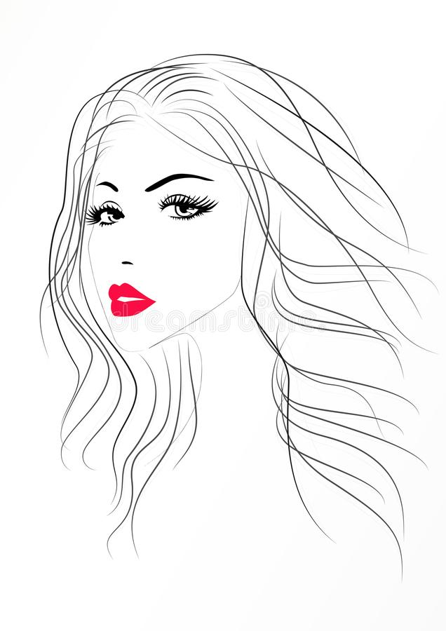 Free Beautiful Woman Portrait With A Red Lips, Vector Stock Image - 100556321