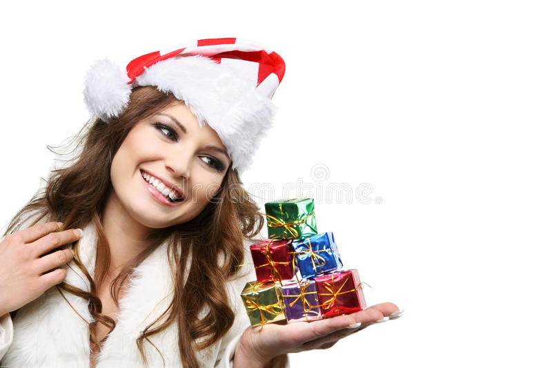 Download Beautiful Woman Posing As Santa Claus. Isolated. Stock Image - Image: 22215315