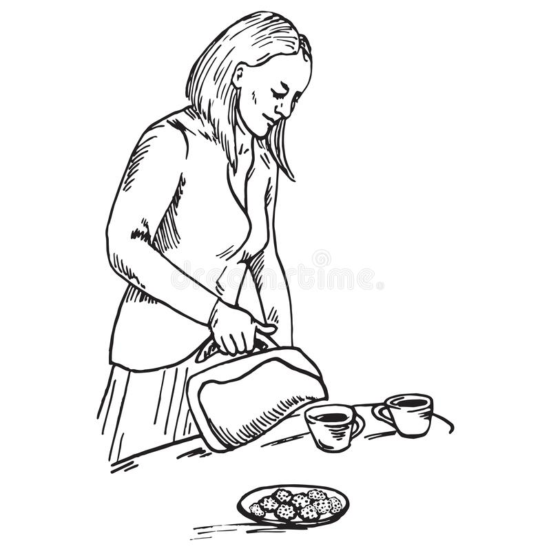 Beautiful woman pouring tea in cups, which stand on the table near plate with cookies vector illustration