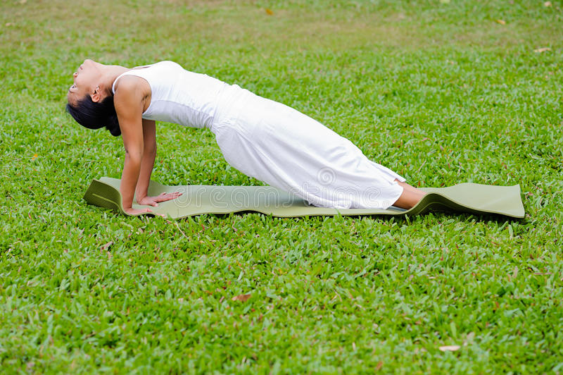 Beautiful woman practicing yoga in the park stock image