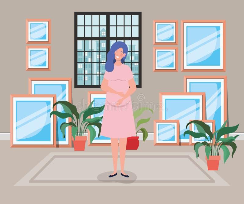 Beautiful woman pregnancy in house corridor scene. Vector illustration design vector illustration