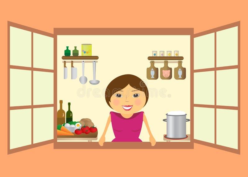 Beautiful woman preparing to eat vector illustration