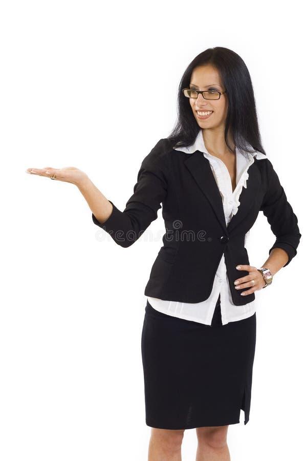Beautiful woman presenting stock image
