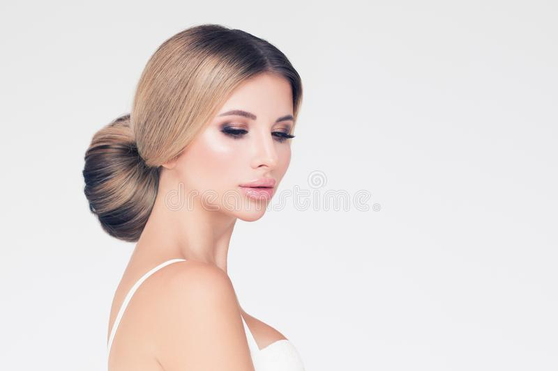 Beautiful Woman Pretty Model With Long Blonde Hair And Makeup On White Banner Background Stock Image Image Of Luxurious Haircare 159906919