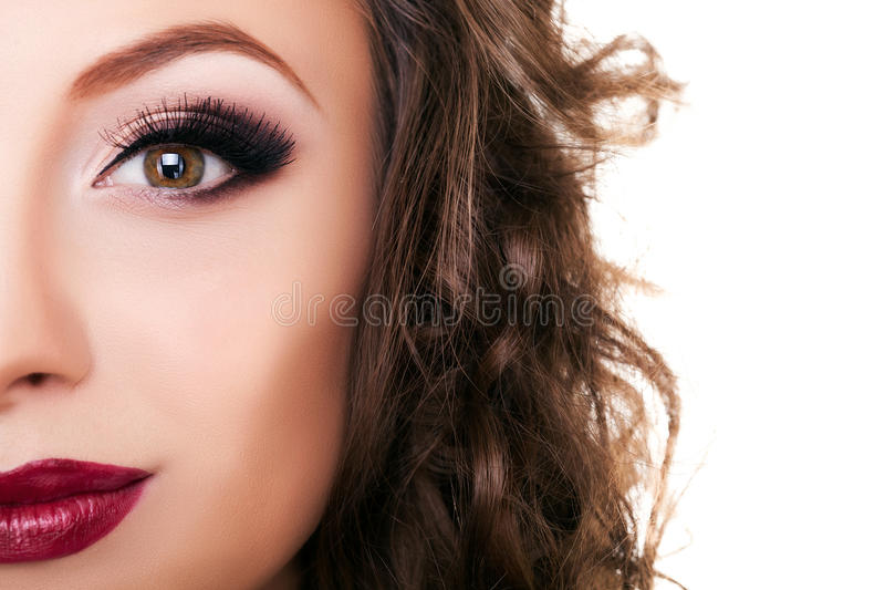 Beautiful woman professional make up on white royalty free stock photos