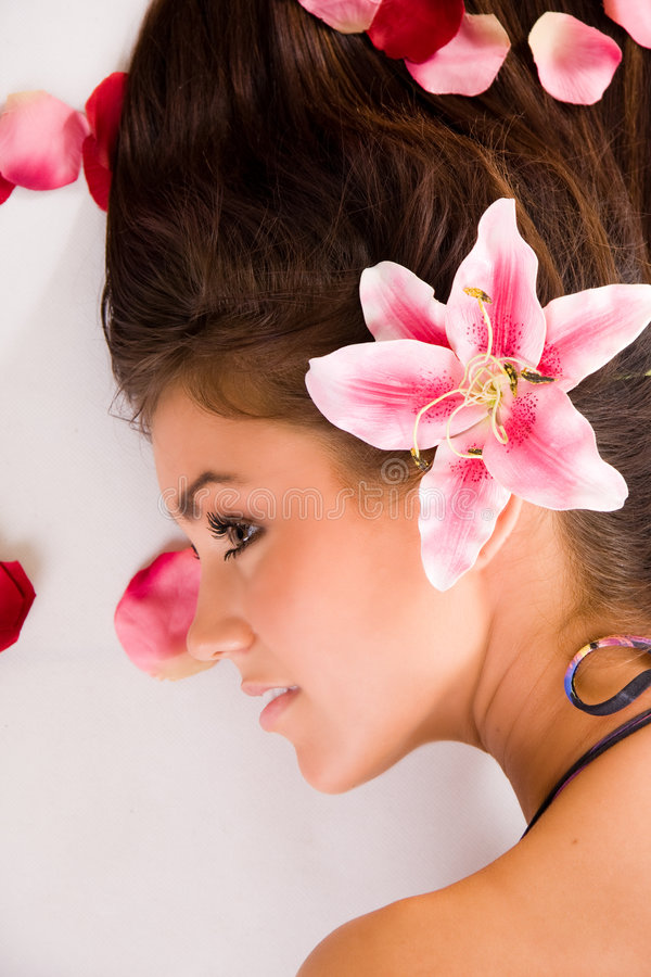 Beautiful Woman in Profile royalty free stock photos