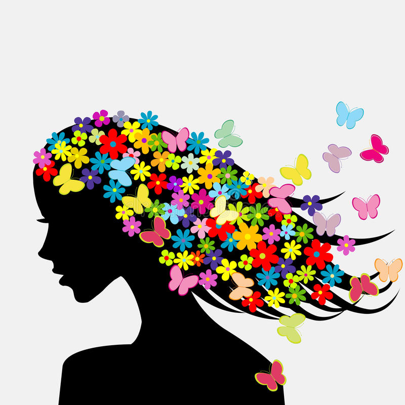 Beautiful woman profile silhouette with flowers and butterflies royalty free illustration