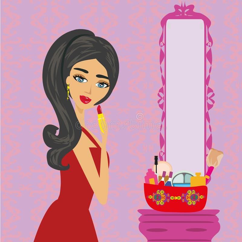 Beautiful woman putting lipstick on. Beautiful brunette woman putting lipstick on vector illustration