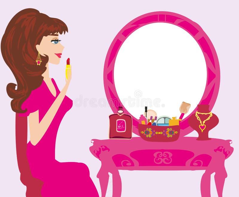 Beautiful woman putting lipstick on. Vector Illustration stock illustration
