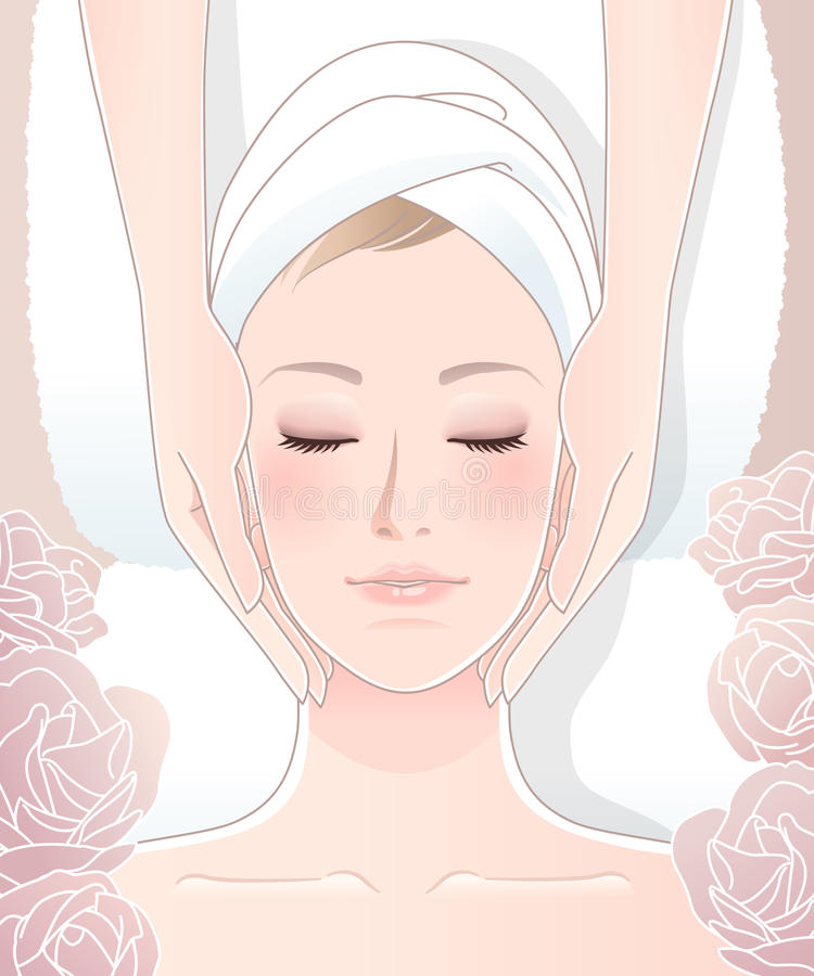 Beautiful woman receiving facial massage vector illustration