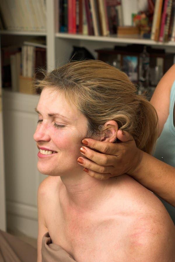 Beautiful Woman Receiving Massage 66 stock image