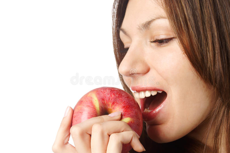Download Beautiful Woman With Red Apple Stock Photo - Image of caucasian, eyes: 17844576