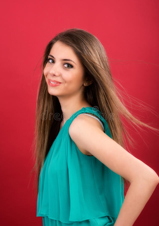 Download Beautiful Woman On Red Background Stock Photo - Image: 38720282