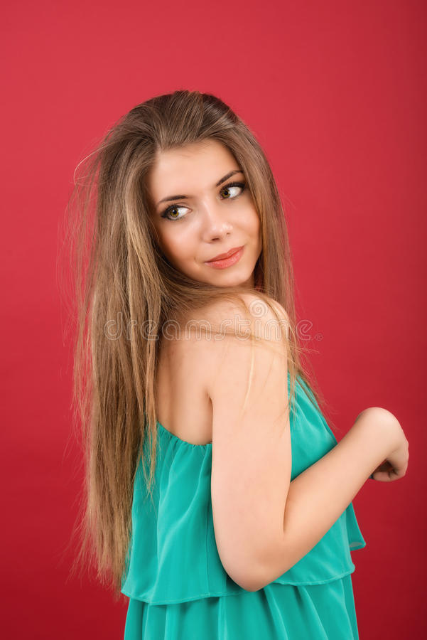 Beautiful Woman On Red Background Stock Image