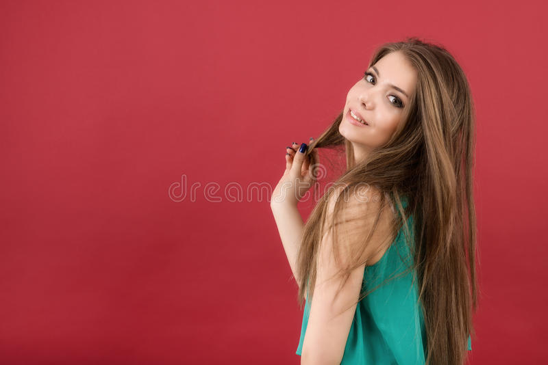 Download Beautiful Woman On Red Background Stock Image - Image: 38720319
