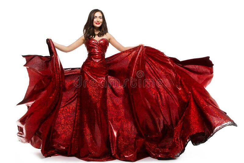 Beautiful Woman in Red Dress, Elegant Lady in Fluttering Sparkling Gown on white. Beautiful Woman in Red Dress, Elegant Lady in Fluttering Sparkling Gown royalty free stock photos