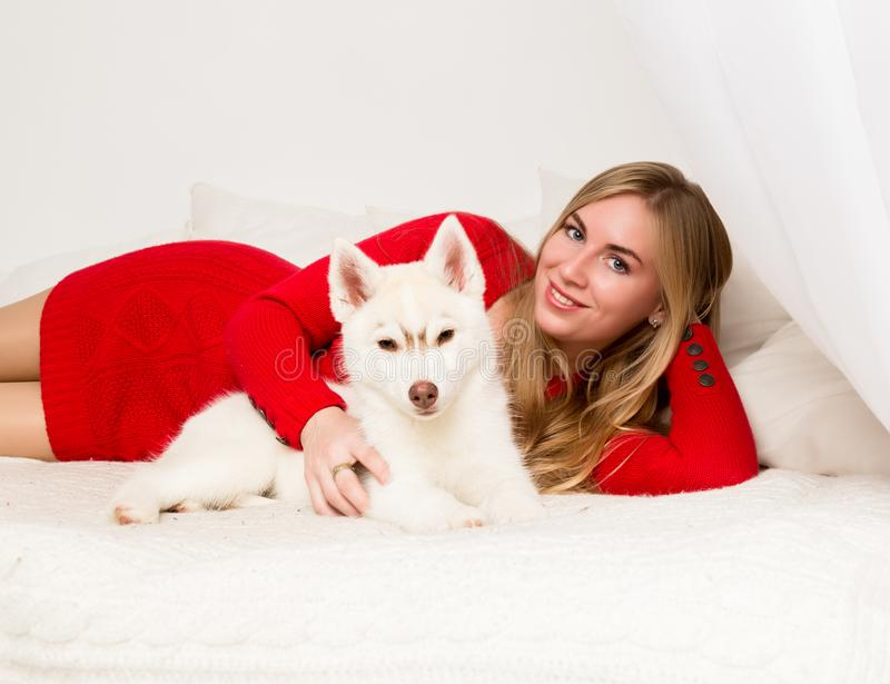 Beautiful woman in a red dress with husky puppy lies on a white bed royalty free stock image