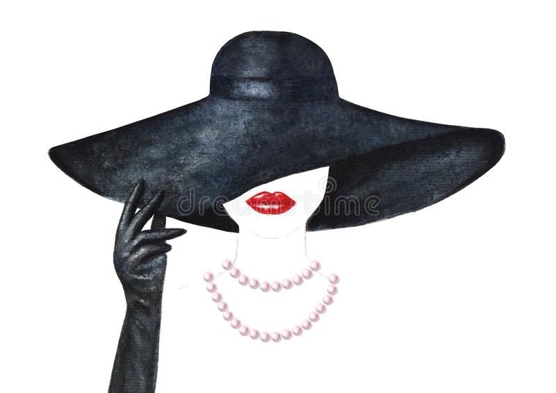 Beautiful woman with red lips, black hat, black glove and pearl necklace. Isolated on white background. Watercolor hand drawn portrait. Watercolour illustration royalty free stock photography
