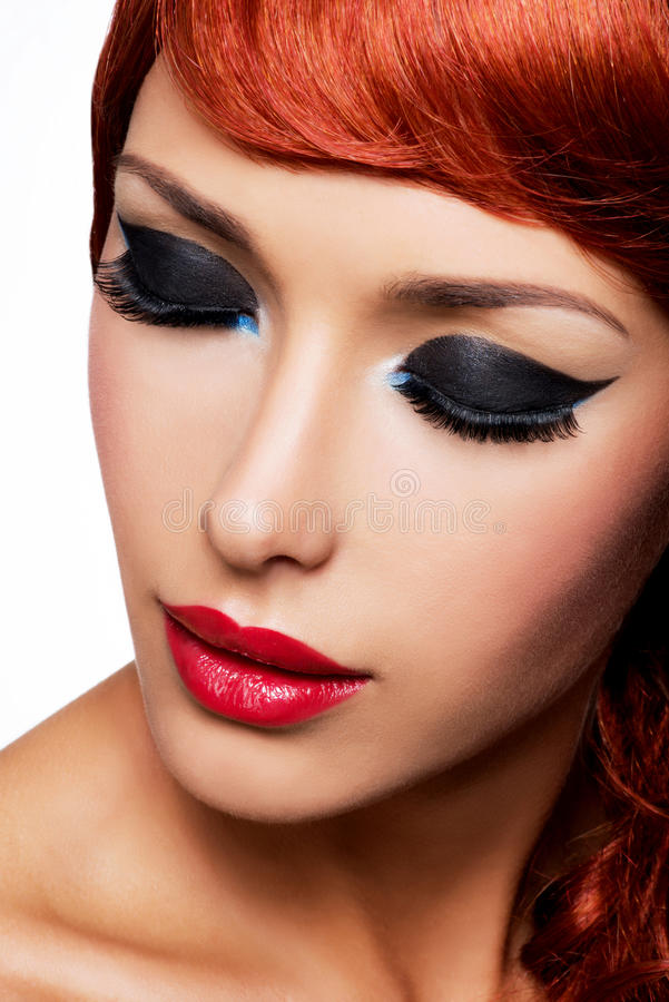 Beautiful Woman With Red Lips And Eye Makeup Stock Photo ...