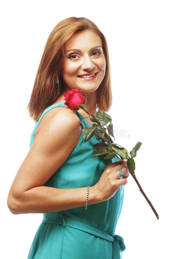 Download Beautiful Woman With Red Rose Stock Photo - Image: 32786820