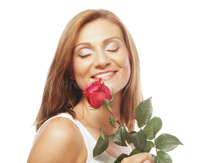 Download Beautiful Woman With Red Rose Royalty Free Stock Photos - Image: 32786998