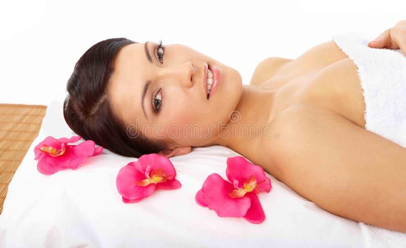 Beautiful Woman Relaxing Spa stock foto