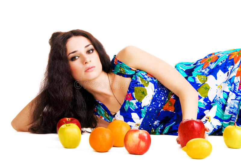 Download Beautiful Woman Resting With Fresh Fruits Stock Photo - Image of laying, lovely: 13187820