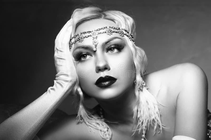 Woman retro flapper style stock photos