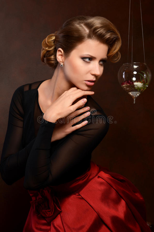 The beautiful woman in retro style stock images