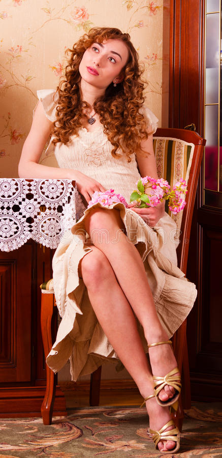 Beautiful woman in retro style royalty free stock photo