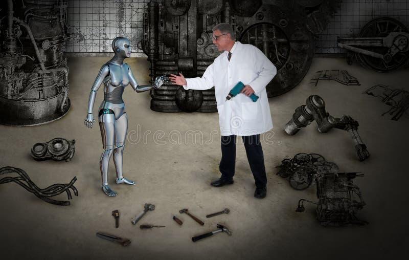 Beautiful Woman Robot, Scientist Creation stock photo