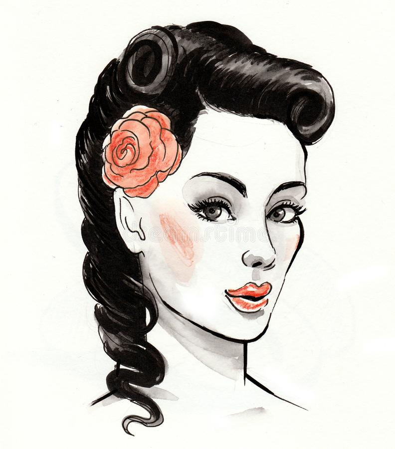 Beautiful woman with a rose royalty free illustration