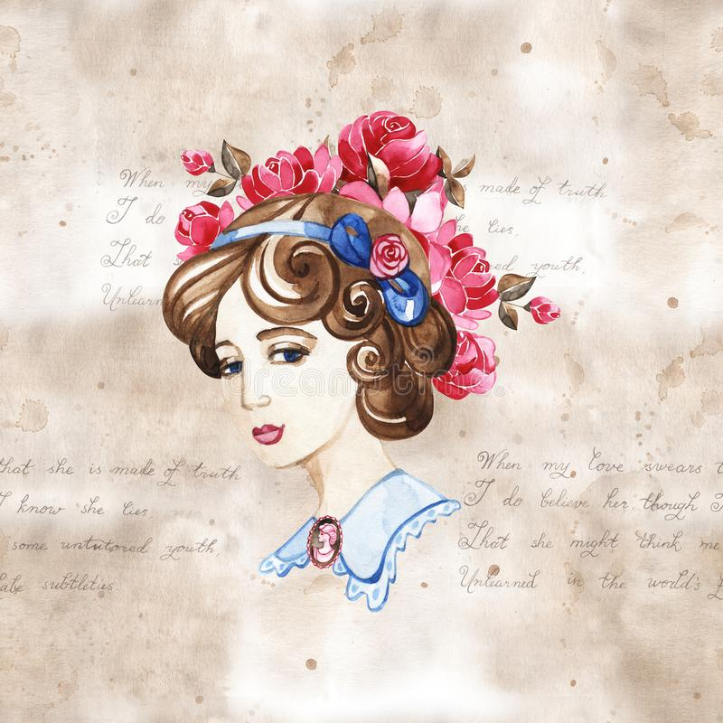 Beautiful woman with rose flowers, watercolor fashion illustration. Romantic background for International Women`s Day stock illustration