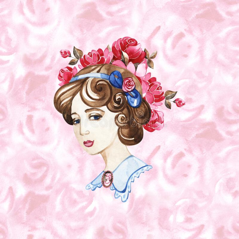 Beautiful woman with rose flowers, watercolor fashion illustration. Romantic background for International Women`s Day vector illustration